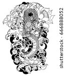 hand drawn colorful dragon... | Shutterstock .eps vector #666888052
