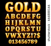 gold vector letters isolated on ... | Shutterstock .eps vector #666888166