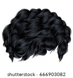 trendy curly hair brunette... | Shutterstock .eps vector #666903082