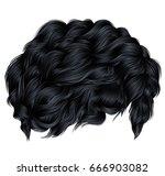 trendy curly hair brunette... | Shutterstock .eps vector #666903082