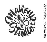 makeup studio vector logo. ... | Shutterstock .eps vector #666903952