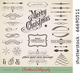 christmas decoration set   lots ... | Shutterstock .eps vector #66690511