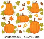 vector set with pumpkin ... | Shutterstock .eps vector #666913186