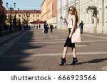 young beautiful caucasian girl... | Shutterstock . vector #666923566