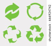 green recycle icon set | Shutterstock . vector #666924742