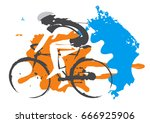 road cyclist grunge stylized.... | Shutterstock .eps vector #666925906