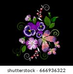 embroidery of a dog rose ... | Shutterstock .eps vector #666936322