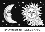 sun and moon with face  cloud... | Shutterstock .eps vector #666937792