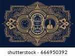 retro whiskey label. vector... | Shutterstock .eps vector #666950392