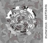 yes you can on grey camo texture | Shutterstock .eps vector #666956446