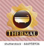 gold badge or emblem with... | Shutterstock .eps vector #666958936