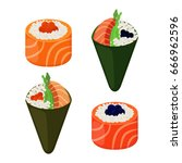 sushi types   rolls  temaki.... | Shutterstock .eps vector #666962596