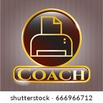 golden emblem with printer... | Shutterstock .eps vector #666966712