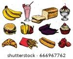food and drink sketch set... | Shutterstock .eps vector #666967762
