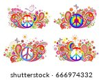 t shirt prints with hippie... | Shutterstock .eps vector #666974332