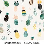 seamless cute pineapples with... | Shutterstock .eps vector #666974338