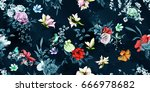 wide vintage seamless... | Shutterstock .eps vector #666978682