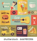 set of different retro images | Shutterstock .eps vector #666980386