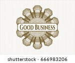 brown rosette with text good... | Shutterstock .eps vector #666983206