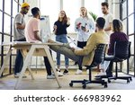 modern loft office with people... | Shutterstock . vector #666983962