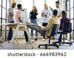 modern loft office with people... | Shutterstock . vector #666983962