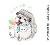 funny hedgehog with ice cream ... | Shutterstock .eps vector #666996838
