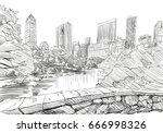 central park. new york. usa.... | Shutterstock .eps vector #666998326
