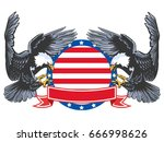 eagle emblem isolated on white... | Shutterstock .eps vector #666998626
