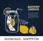 hand drawn lemon  lemon slice ... | Shutterstock .eps vector #666999736