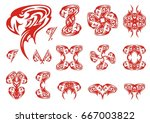 red eagle symbols. a set of the ...   Shutterstock .eps vector #667003822