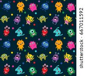 cute seamless pattern with... | Shutterstock .eps vector #667011592