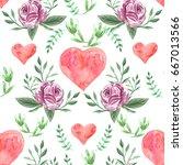 watercolor flower seamless... | Shutterstock . vector #667013566