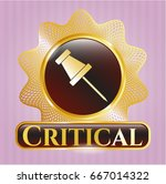 gold badge with paper pin icon ... | Shutterstock .eps vector #667014322