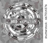 genuine quality on grey camo... | Shutterstock .eps vector #667014376