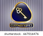 golden badge with key icon and ... | Shutterstock .eps vector #667016476