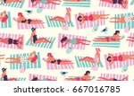 vector pattern with people... | Shutterstock .eps vector #667016785