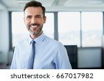 potrait of a happy office... | Shutterstock . vector #667017982