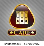 shiny badge with three folders ... | Shutterstock .eps vector #667019902