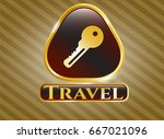 gold badge with key icon and... | Shutterstock .eps vector #667021096