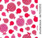 pomegranate background. fruit... | Shutterstock .eps vector #667023352