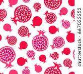 pomegranate background. fruit... | Shutterstock .eps vector #667023352