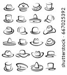 hats collection set. vector | Shutterstock .eps vector #667025392