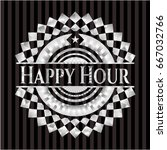 happy hour silver emblem or... | Shutterstock .eps vector #667032766