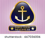 gold badge with anchor icon... | Shutterstock .eps vector #667036006