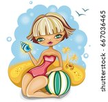 beautiful young blonde girl...   Shutterstock .eps vector #667036465