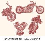 motorcycles. design set. hand... | Shutterstock .eps vector #667038445