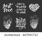 set of love romantic lettering... | Shutterstock . vector #667041712