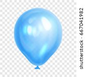 realistic blue balloon ... | Shutterstock .eps vector #667041982