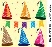 color party hats with white... | Shutterstock .eps vector #667042282