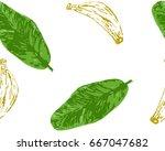banana seamless pattern. vector ... | Shutterstock .eps vector #667047682